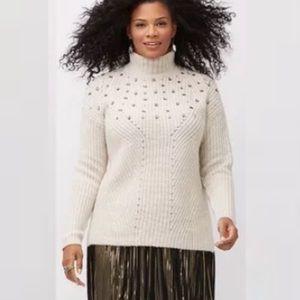 Lane Bryant Bejeweled Beige Mock Neck Sweater